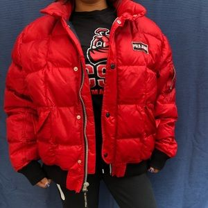 Vintage red polo Ralph Lauren puffer jacket